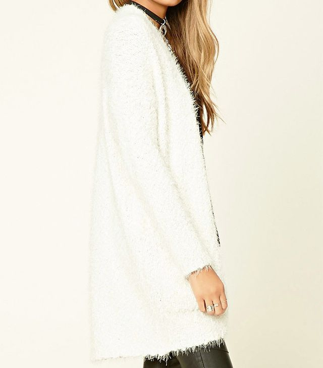 Forever 21 Fuzzy Knit Open-Front Cardigan