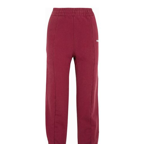 Embroidered Cotton-Blend Jersey Sweatpants