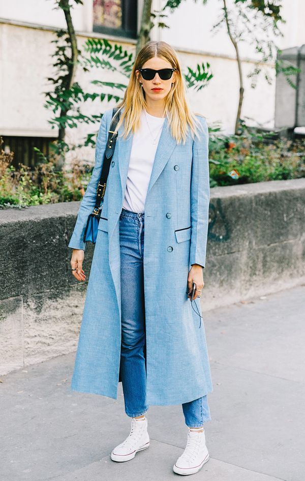 Duster jacket at fashion week.