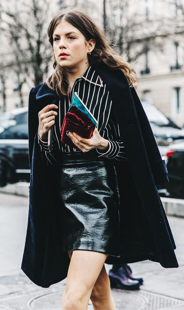 Wear it with: Striped shirt + coat swung over the shoulders