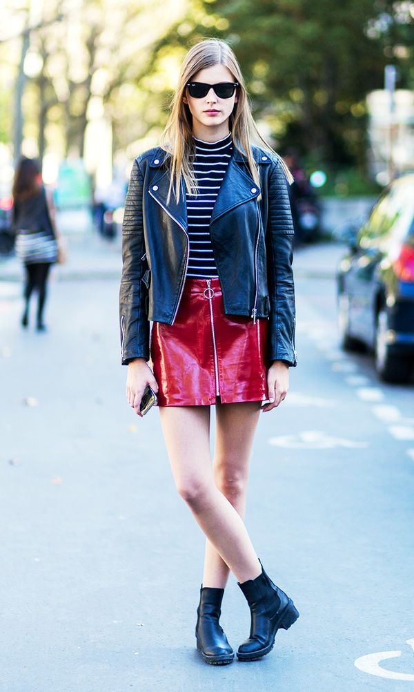 Wear it with: Moto jacket + striped tee