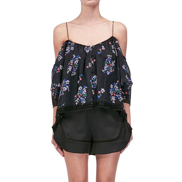 Nicholas Black and Purple Posie Shoulderless Cami