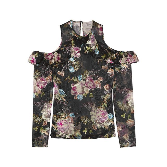 Preen by Thornton Bregazzi Tilly Cutout Floral-Print Devoré-Chiffon Top