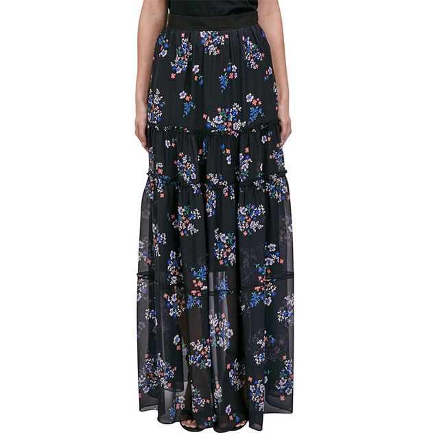 Nicholas Purple Posie Tiered Maxi Skirt