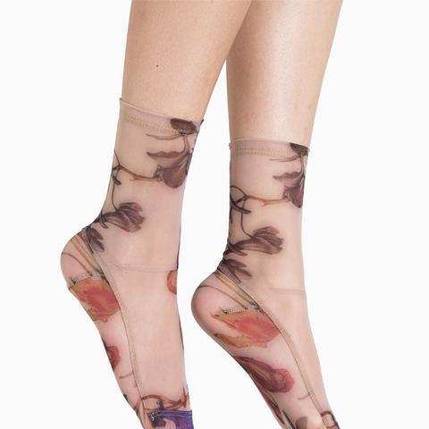 Nude Floral Socks