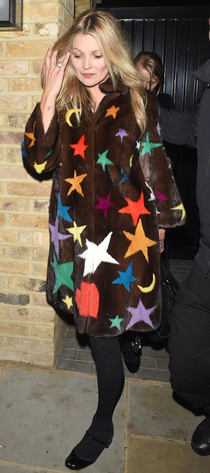 Kate Moss Gucci Pre-Fall Starry Fur Coat London