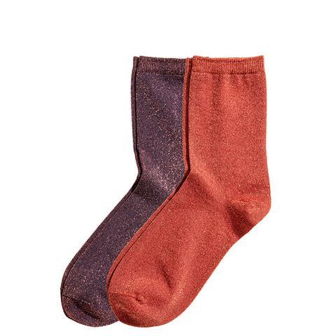2-Pack Glittery Socks