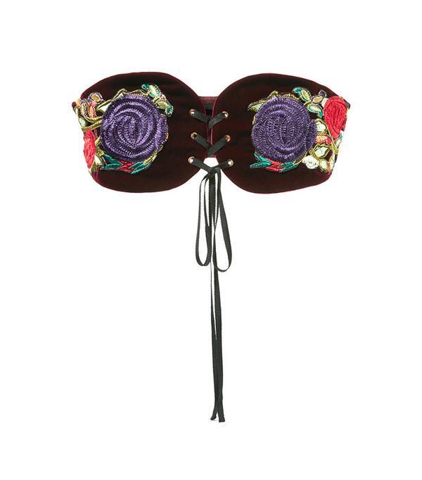 Anna Sui Embroidered Velvet Belt