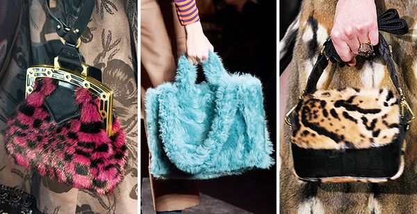 fall runway trend furry bags