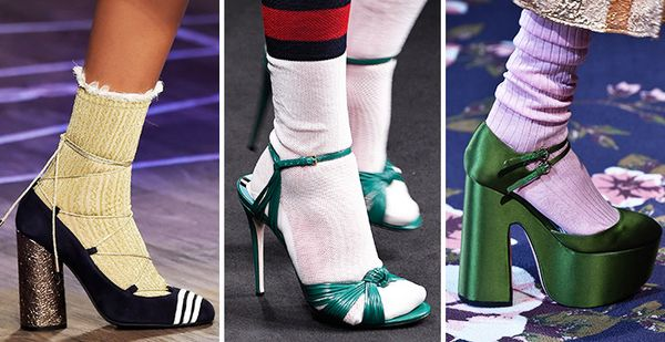 fall runway trend socks and heels
