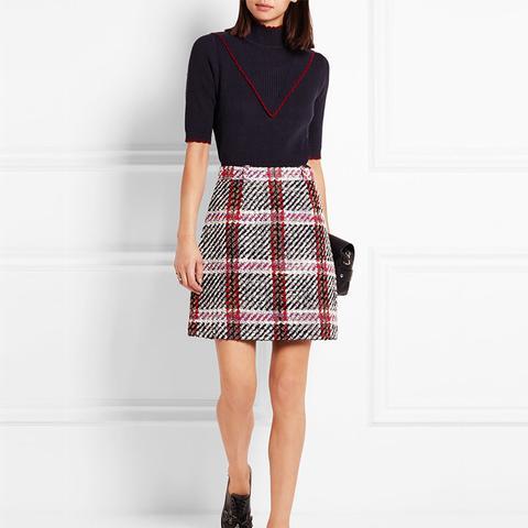 Tartan Bouclé-Tweed Mini Skirt