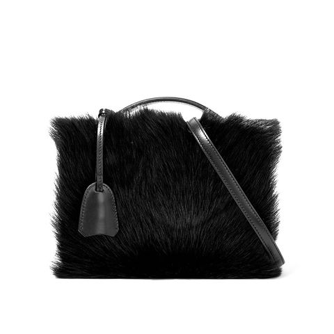 Grace Small Shearling-Paneled Leather Shoulder Bag