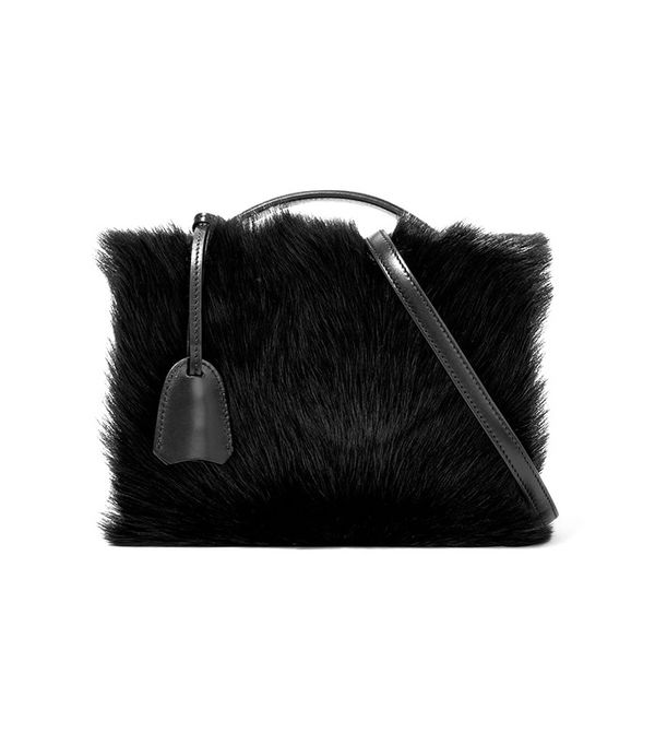 Mark Cross Grace Small Shearling-Paneled Leather Shoulder Bag