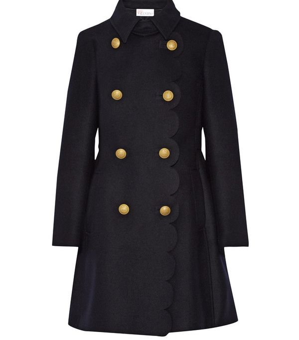 Red Valentino Scalloped Double-Breasted Wool-Blend Coat