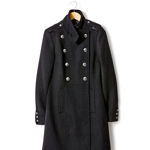 Military Style Wool Coat with Stand-Up Collar