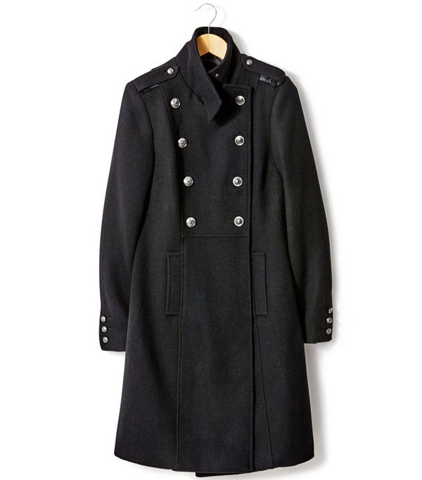 La Redoute Military Style Wool Coat with Stand-Up Collar