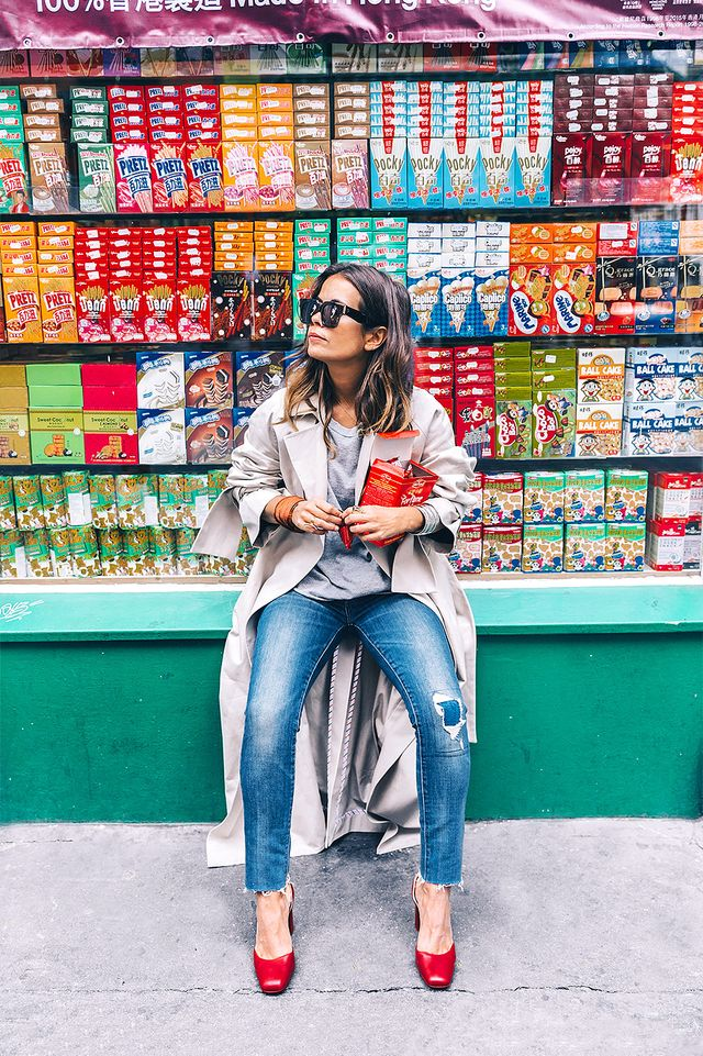 Why red block heels? Adding a bold color to this ensemble give it an extra something, creating a look so versatile that you can go from breakfast to shopping with friends without feeling over- or...