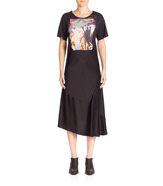 Maison Margiela Satin Short-Sleeve Graphic T-Shirt Dress