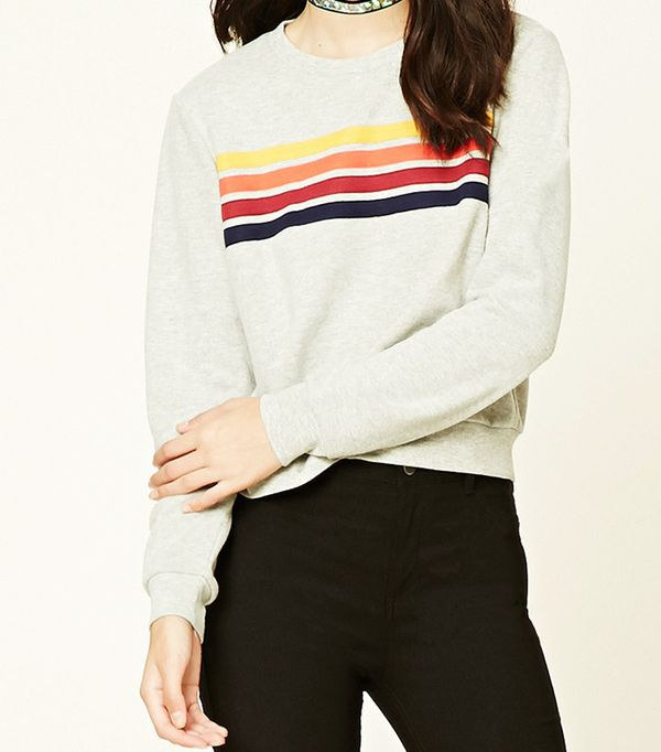 Forever 21 Striped French Terry Sweatshirt