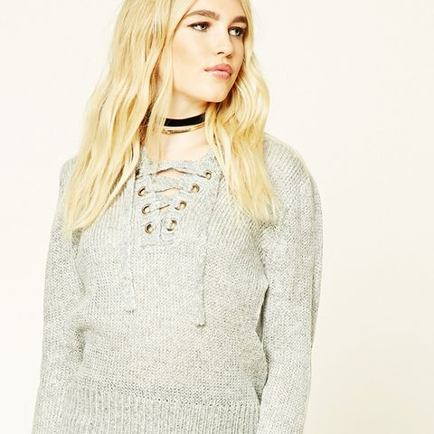 Marled Knit Lace-Up Sweater