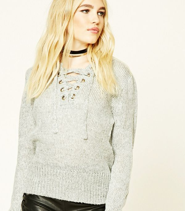 Forever 21 Marled Knit Lace-Up Sweater