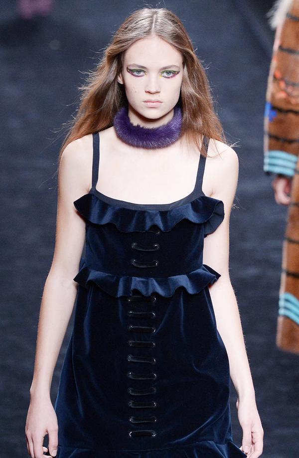 We'd layer a tissue turtleneck underneath this F/W 16 Fendi dress.