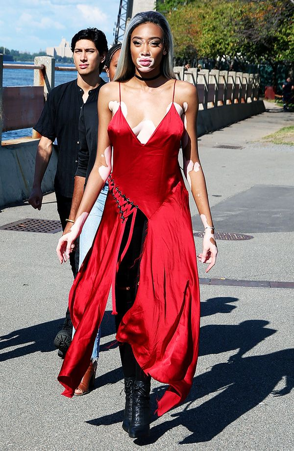 Canadian model Winnie Harlow stepped out during New York Fashion Week in this bright red DKNY dress.