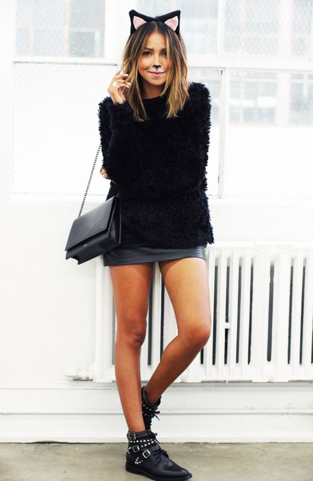 What you'll need:  Furry cat ears: Black Kitty Ears Headband ($15) Cat stickers: Claire's Black Cat Face Tattoo ($7) Black sweater: & Other Stories Mohair & Wool Sweater ($65) Black miniskirt:...