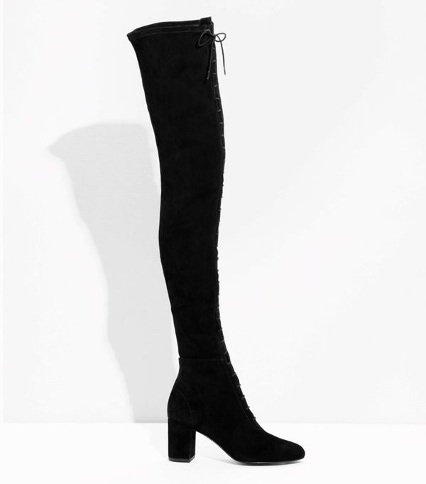 Over-the-knee lace-up boots