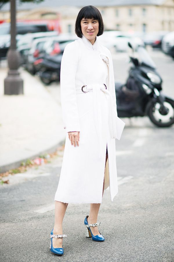 On Eva Chen: Proenza Schouler coat; Gucci heels.