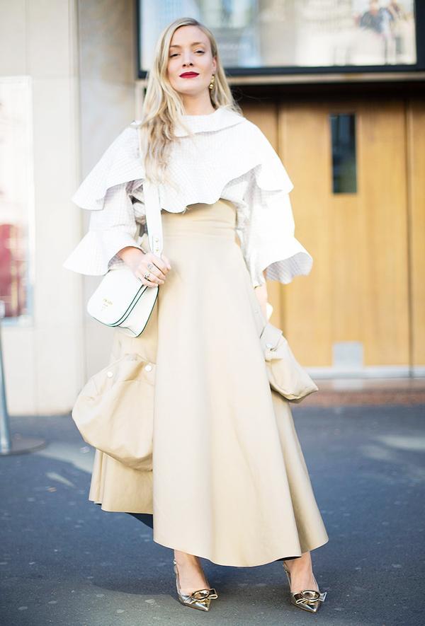 On Kate Foley:A.W.A.K.E.blouse;Prada bag; Frances ValentineCaroline Metallic Leather Closed Toe Slingback Flats($395).