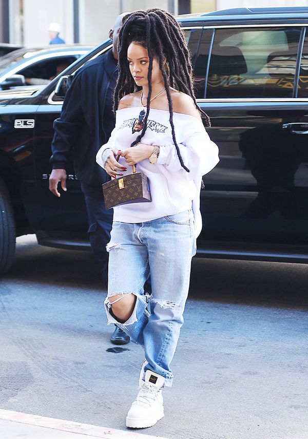 On Rihanna: F*cking Awesome Break Thru Hoodie; Louis Vuitton x Frank Gehry Twisted Box Bag; Fenty x Puma Platform Sneaker Boots ($325).