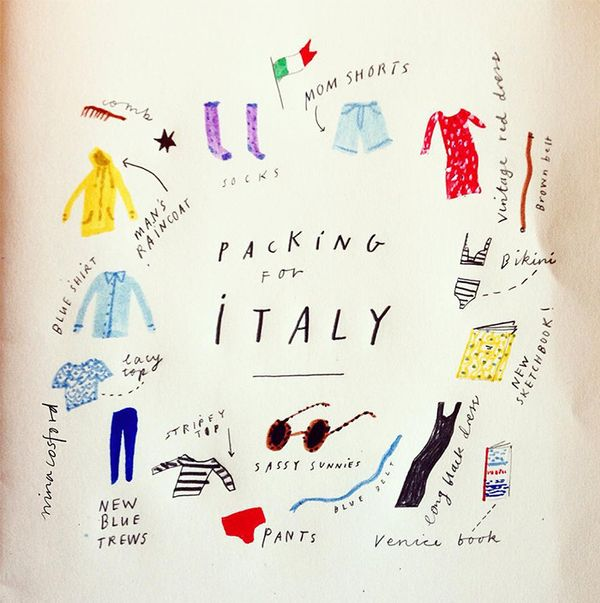 "With an ""Arrivederci"" and an adorable assortment of little drawings, Cosford shares her delightful packing list."