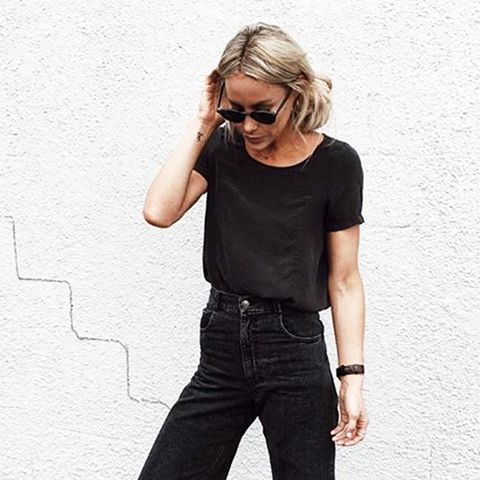 Mix the textures of your black pieces for a unique look.