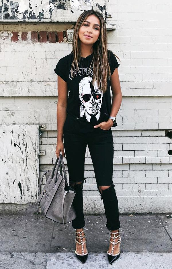 black outfit graphic tee ripped skinny jeans valentino rockstud pumps