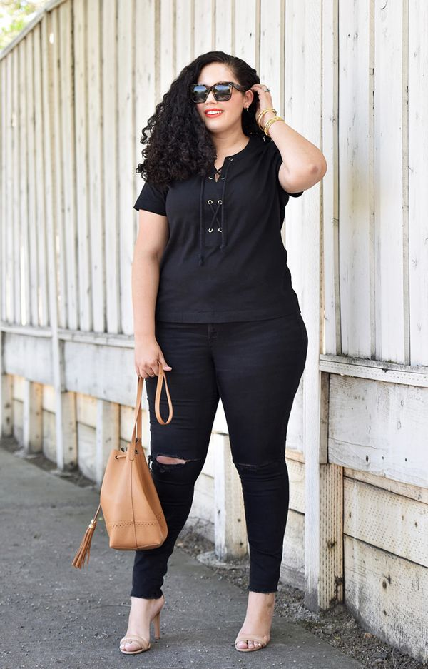 black outfit lace-up tee skinny jeans nude heels