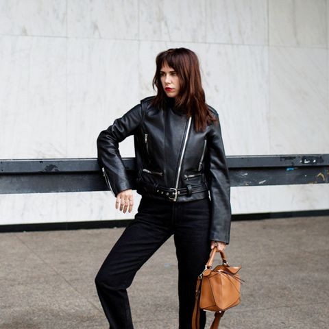 A moto jacket can be the star of your outfit if paired with subtle enough counterparts.