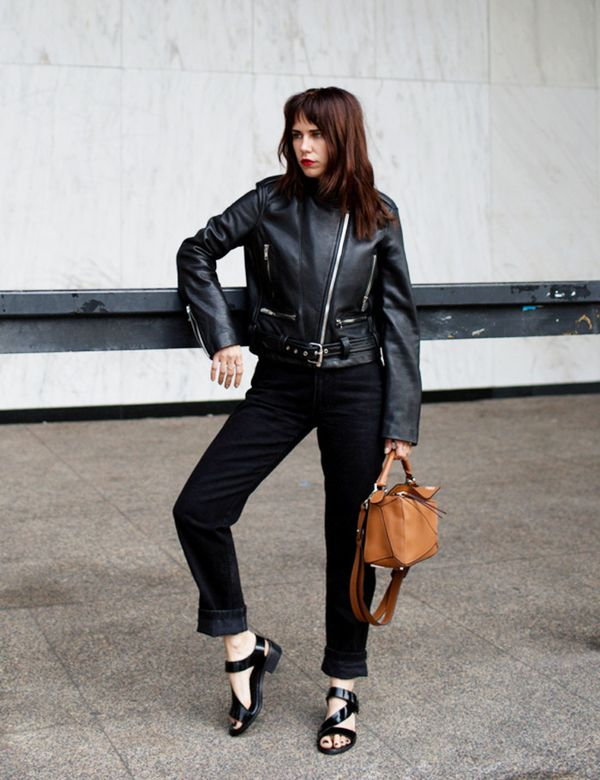 black outfit moto jacket cropped pants