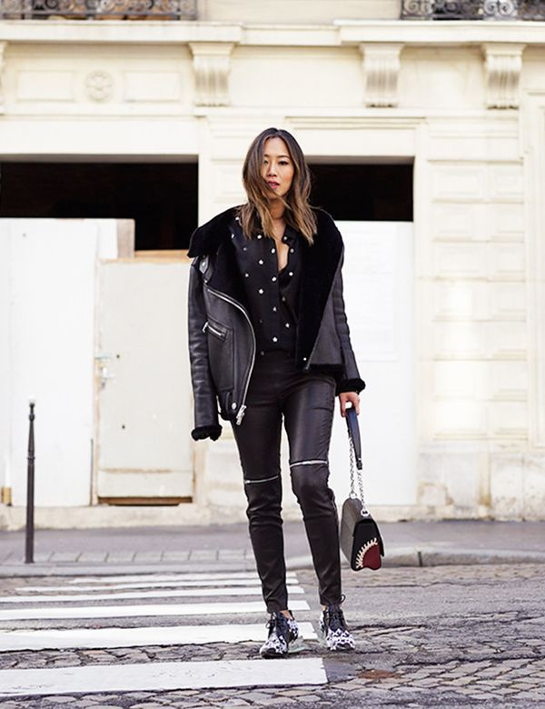 black outfit leather pants moto jacket