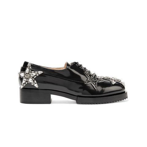 Embellished Glossed-Leather Brogues