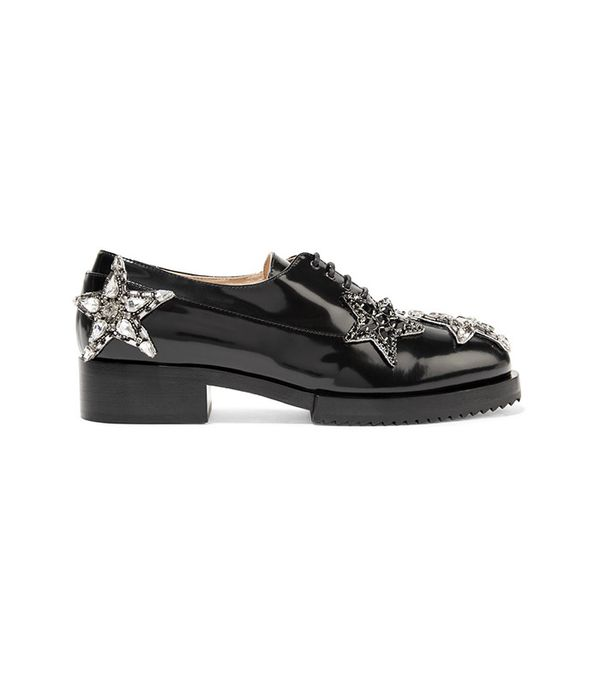 No. 21 Embellished Glossed-Leather Brogues