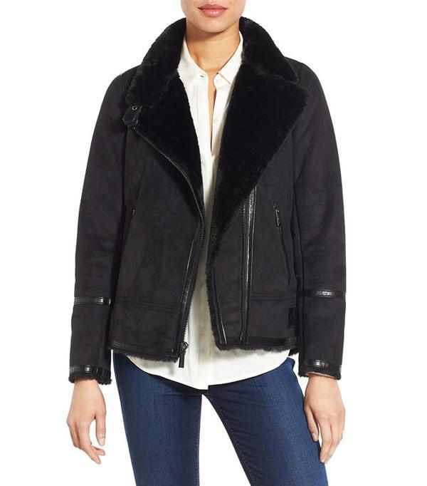 Michael Michael Kors Asymmetrical Faux Shearling Jacket