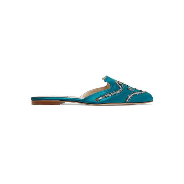 Oscar de la Renta Aqua Embellished Silk-Satin Slippers