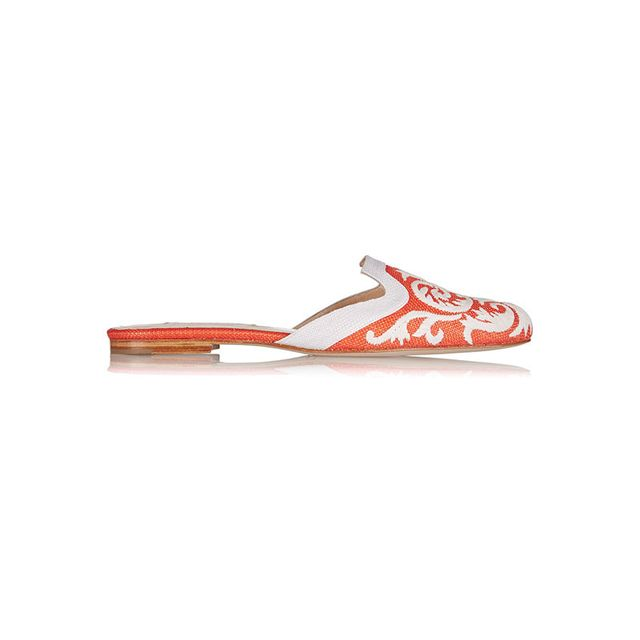 Oscar de la Renta Calista Orange and White Embroidered Raffia Slippers