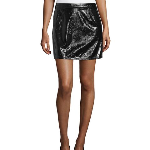 Shiny Leather Mini Skirt