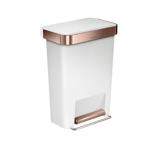 Rectangular Pedal Bin with Liner Pocket - Rose Gold & White - 45L