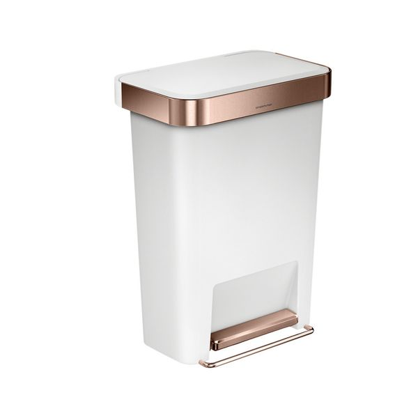 Simple Human Rectangular Pedal Bin with Liner Pocket - Rose Gold & White - 45L