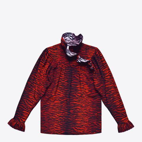 Silk Frill-Collar Blouse