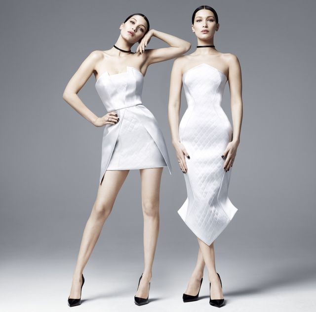 Love this no-brainer contrast of icy-hued dresses and black-as-night accessories.