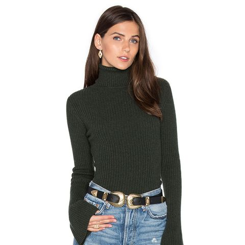 Ribbed Turtleneck Bell Sleeve Sweater